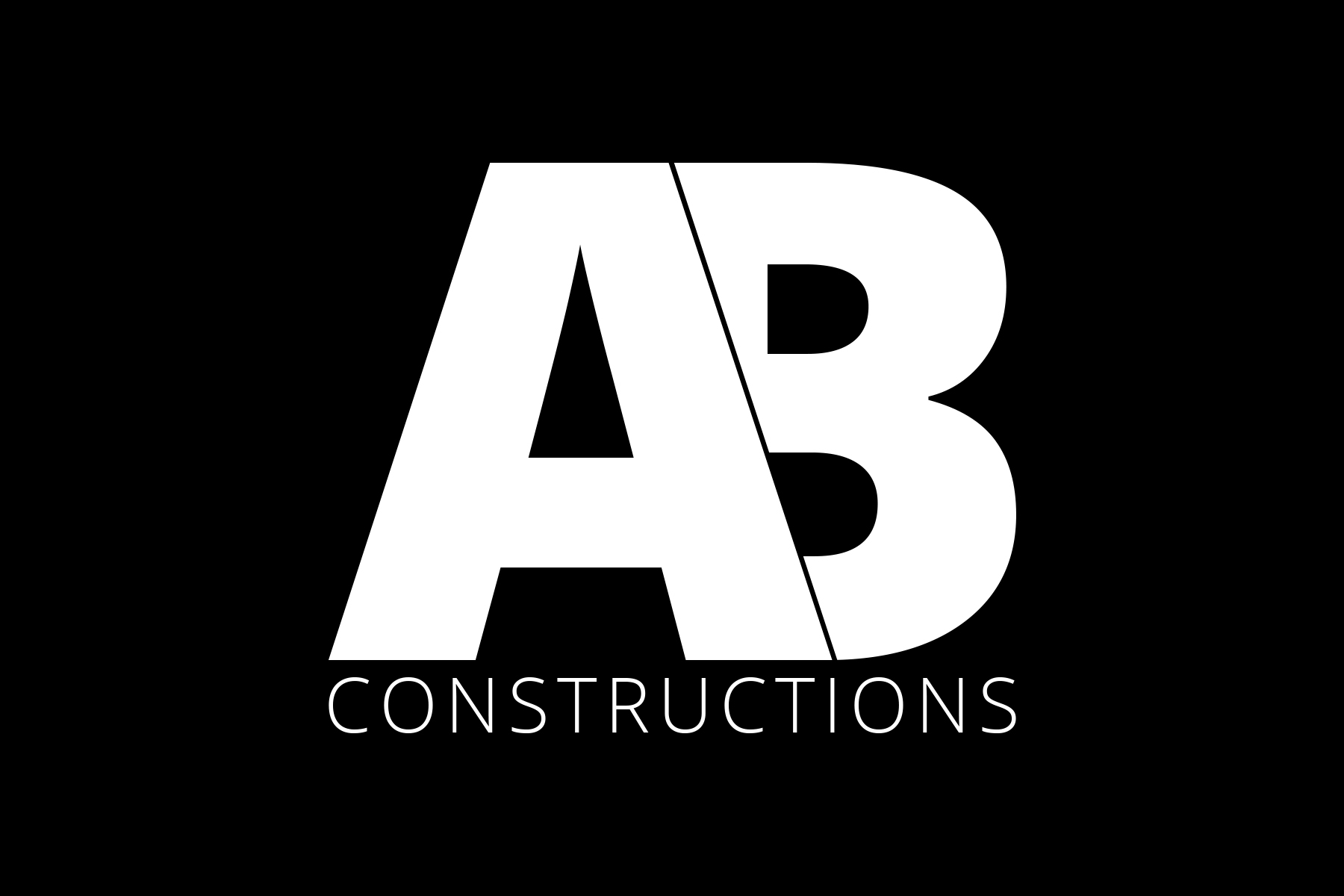AB Constructions logo in white